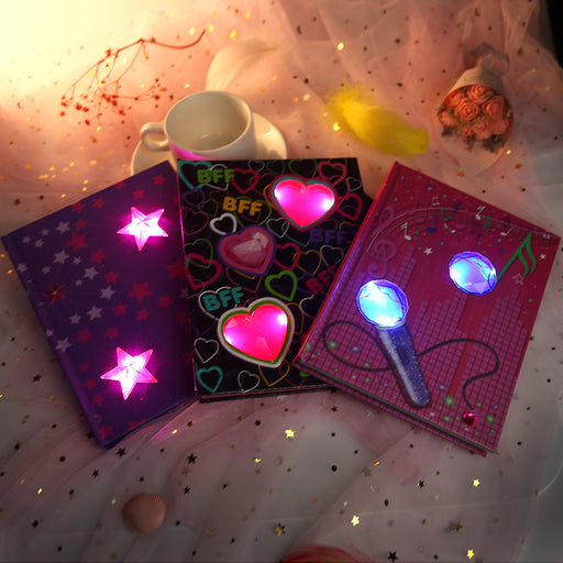 Kawaii  Japanese  Korean  A5 cute notebooks LED luminous notebook