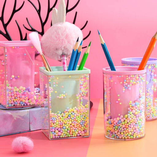 Kawaii Japanese Korean multifunctional storage round square pen holder transparent acrylic foam ball style pen holder