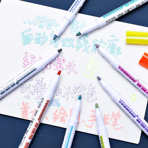 Kawaii  Japanese  Korean  Two-line outline color marker pen / hand account highlighter