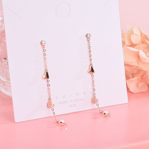 Kawaii  Japanese  Korean S925 sterling silver diamond and shell beads love earrings moon tassel earrings