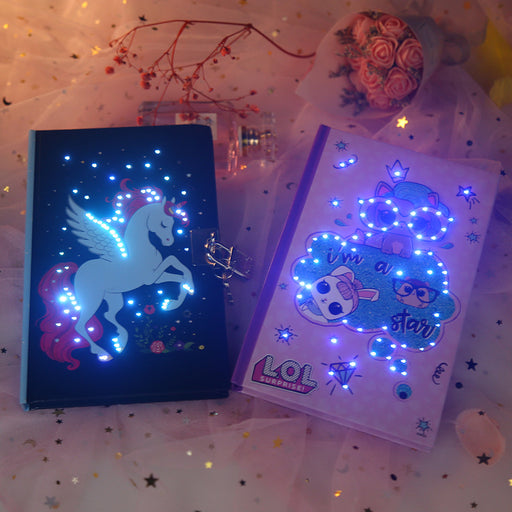 Kawaii Japanese Korean  A5 Unicorn glowing notebook,kawaii cute notebook,diary book with lock notebook