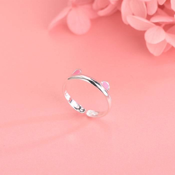 Kawaii  Japanese  Korean  -S925 Silver Personality Creative Playful Cute Kitten Open Ring