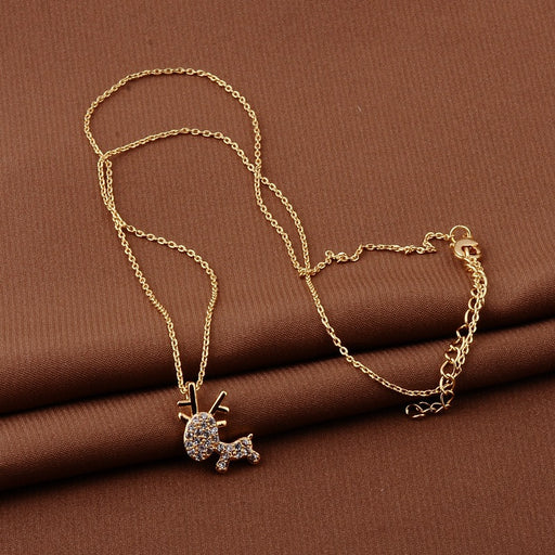 Kawaii Japanese Korean  All the way to have you fawn 18K real gold plated clavicle necklace