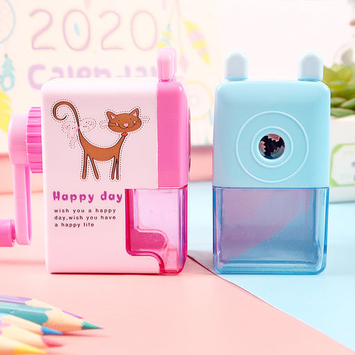 Kawaii  Japanese and  Korean  Cartoon pencil sharpener hand pencil sharpener turn pen sharpener creative learning pencil sharpener