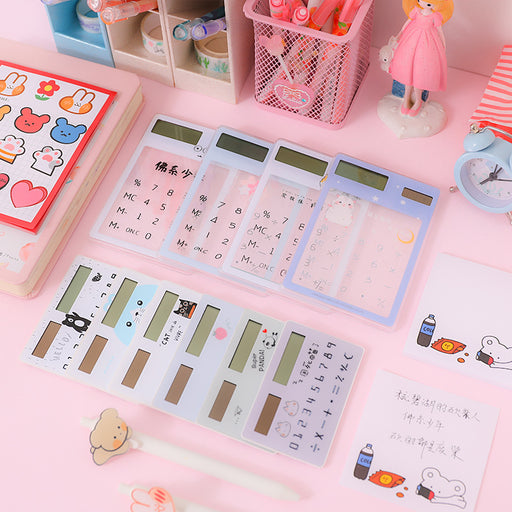 Kawaii  Japanese and  Korean Candy-colored solar transparent portable card-type mini ultra-thin calculator