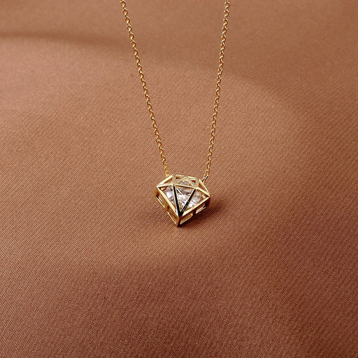 Kawaii Japanese Korean   Diamond Shape Pendant Clavicle Chain Necklace