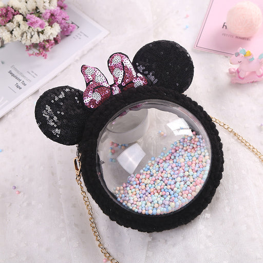 Kawaii  Japanese  Korean  Woven bag unicorn transparent round bag shoulder messenger female bag