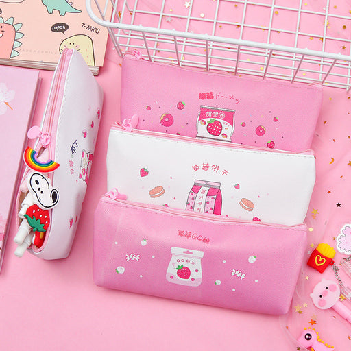 Kawaii  Japanese  Korean  girl heart strawberry pencil case milk pencil bag stationery box pencil case