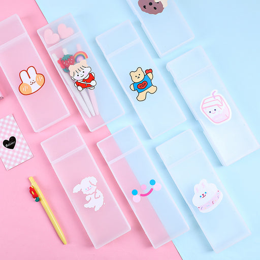Kawaii  Japanese  Korean  Cartoon translucent stationery box cute girl heart pencil case cheap pencil cases