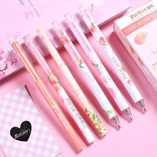 Kawaii  Japanese  Korean  Cute creative peach paradise bullet press gel pen