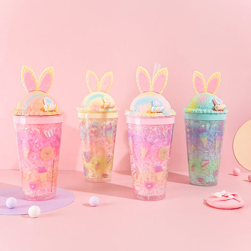 Kawaii  Japanese  Korean  Cartoon straw ice cup rabbit ice cup summer broken ice cup leisure water cup