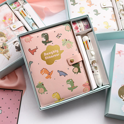 Kawaii  Japanese  Korean Cute gift box notepad magnetic buckle diary book hand book set notebook