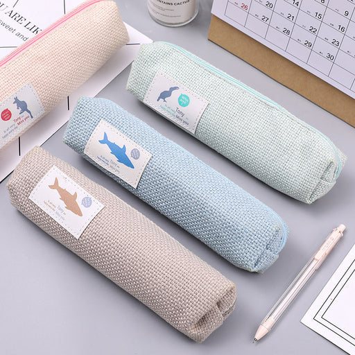 Kawaii  Japanese  Korean  creative cotton and linen pencil case cute portable large-capacity stationery bag multi-function pencil bag pencil case