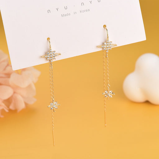 Kawaii  Japanese  Korean  S925 sterling silver diamond six-pointed star earrings show face thin rice word star tassel ear line