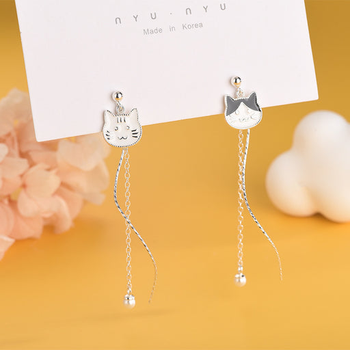 Kawaii  Japanese  Korean S925 sterling silver cat earrings cute small fresh round beads tassel earrings
