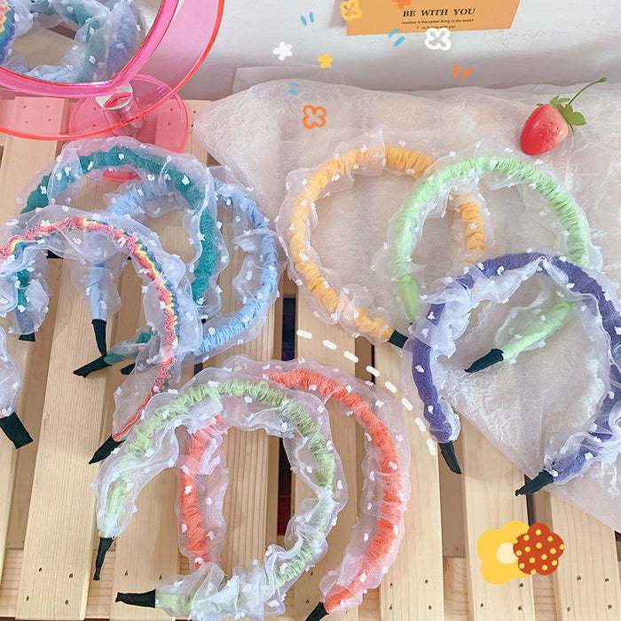 Kawaii  Japanese  Korean Chiffon mesh headband macaron fold rainbow headband