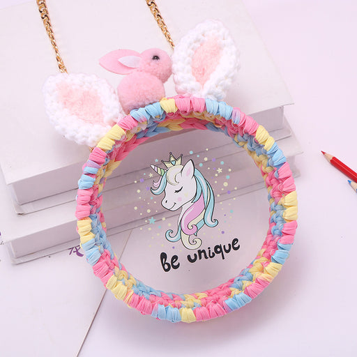 Kawaii  Japanese  Korean Hand-woven bag unicorn transparent round bag shoulder messenger