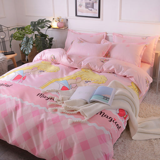 Kawaii  Japanese  Korean - Cartoon Sailor Moon bed linen quilt three-piece dormitory set / four-piece bedding set
