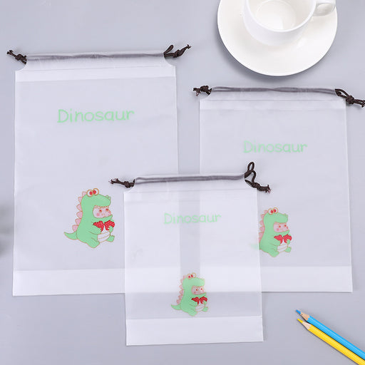 Kawaii  Japanese  Korean  Cartoon little dinosaur drawstring harness pocket clothing organize travel storage bag