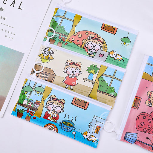 Kawaii Japanese Koreanins cute little girl ring zipper file bag/small fresh stationery storage bag information bag/pencil bag
