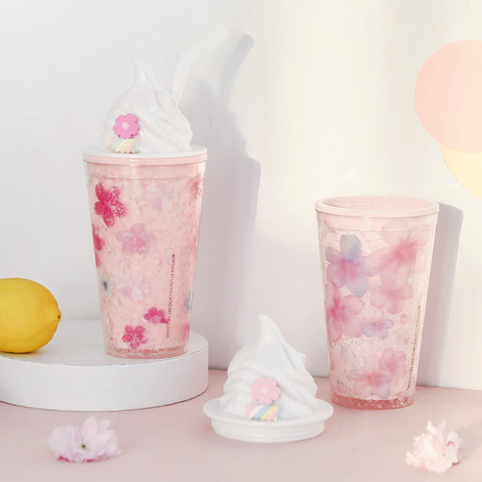 Cute Japanese style marshmallow ice cream pink cherry blossoms cute double cooler