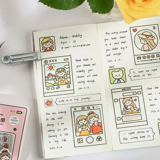 Kawaii Japanese Korean - Infeel.me with you series cute cartoon character material hand account sticker