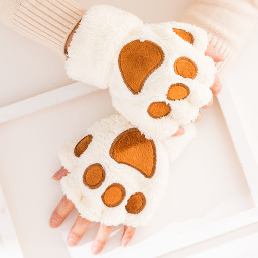 Aesthetic  Kawaii Big Cat Claw Half-Finger Plush Leaky Gloves