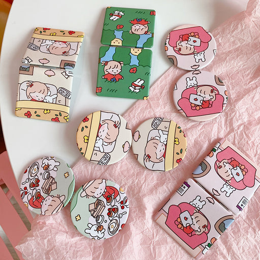 Kawaii  Japanese  Korean Cartoon mini portable makeup mirror