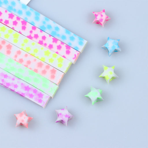 Kawaii Japanese Korean DIY Folding Wish Lucky Star Transparent Luminous Color Origami Strip