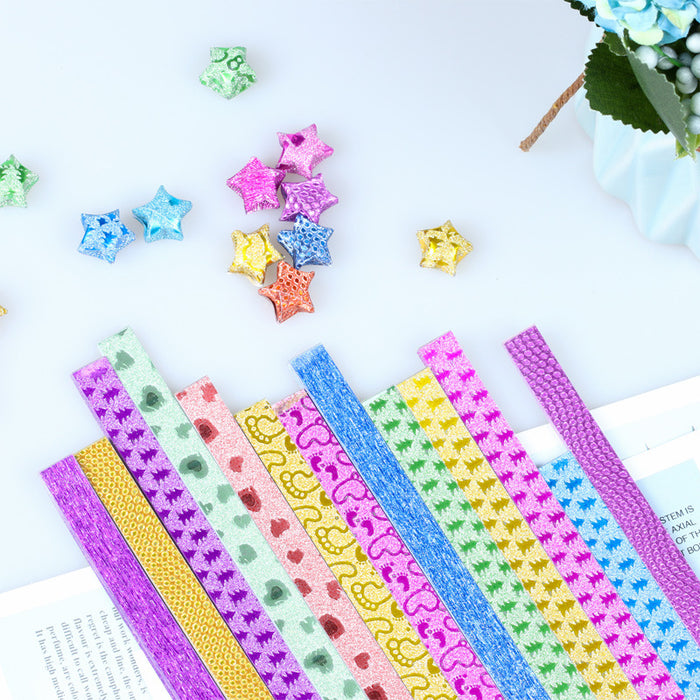 Kawaii Japanese Korean DIY folding candy color color glitter glitter gold powder star origami strip