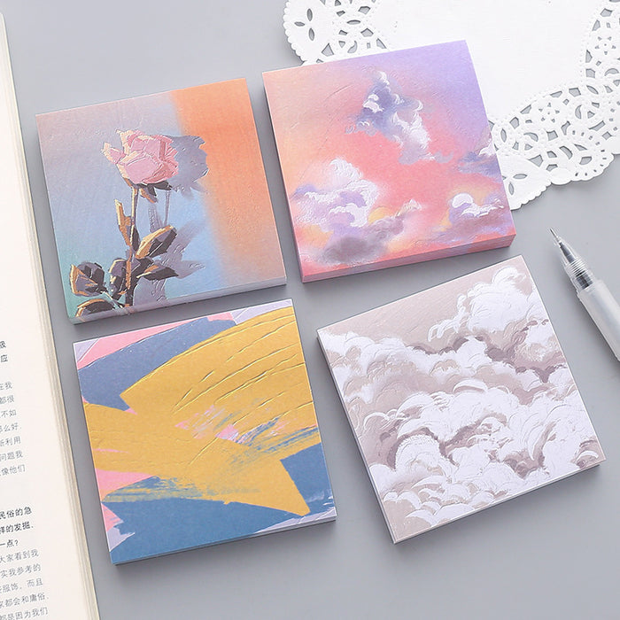 Kawaii  Japanese  Korean Beautiful Scenery Girl Oil Painting Post-it Color N-time Sticker