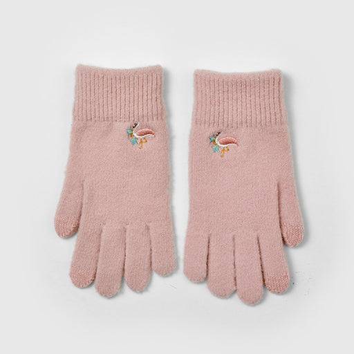 Aesthetic Knitted Embroidery Flamingo Gloves