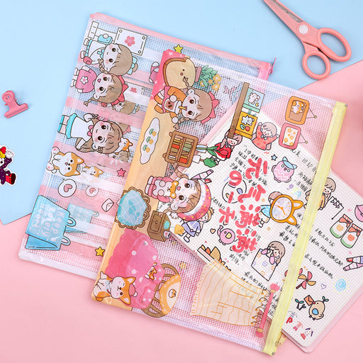 Kawaii Japanese Korean  cute cartoon grid pencil case/A4A5 large-capacity transparent file bag/girl heart stationery storage