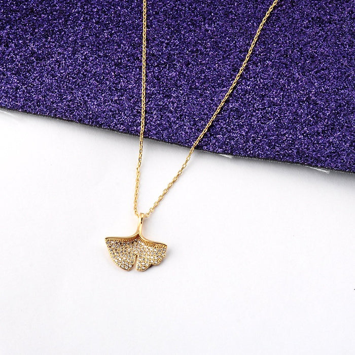 Kawaii Japanese Korean Micro-inlaid ginkgo leaf clavicle necklace