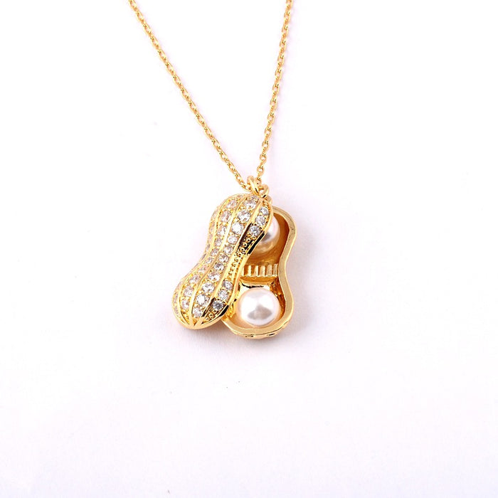 Kawaii Japanese Korean Clavicle Peanut 18K Real Gold Plated Necklace