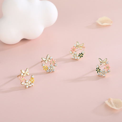 Kawaii  Japanese  Korean S925 sterling silver diamond butterfly flower earrings small fresh super fairy temperament butterfly dance flower earrings