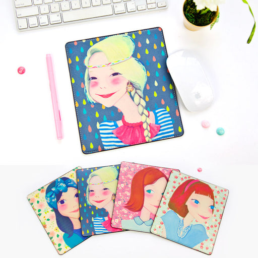 Luxury queen mouse pad leather cute cartoon girl mouse pad