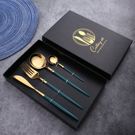 Aesthetic Four-Piece Stainless Steel Cutlery
