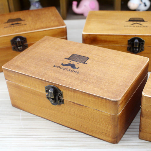 Desktop Small Storage Zakka Beard Jewelry Storage Multifunctional Wooden Iron Buckle Stationery Box Pen Holder
