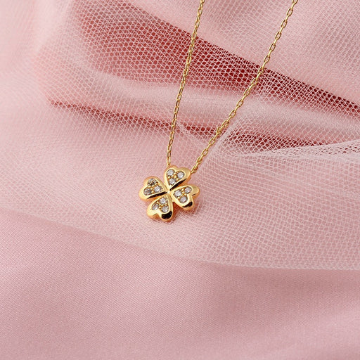 Kawaii Japanese Korean  Lucky four-leaf clover pendant necklace