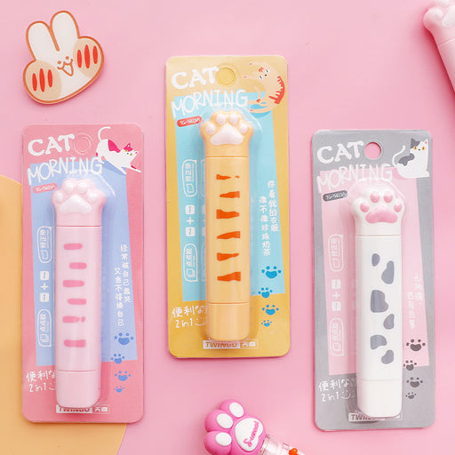 Kawaii  Japanese  Korean 2 in 1 Cat Paw Correction & Glue Tape Roller