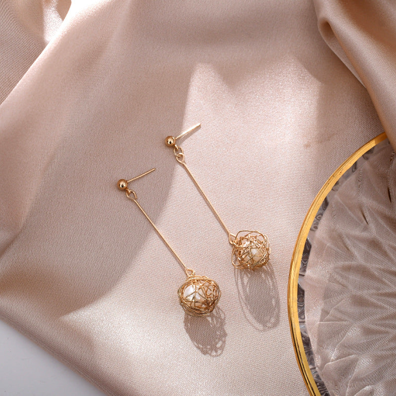 Kawaii  Japanese  Korean s925 vintage pearl woven bird's nest earrings
