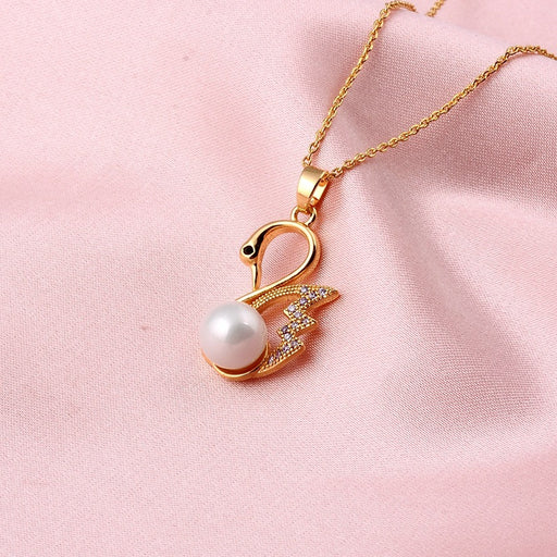 Kawaii Japanese Korean   Pearl Little Swan Clavicle Chain Pendant Necklace