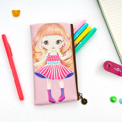 Korean version of cute big - eyed girl leather pencil bag doll makeup bag