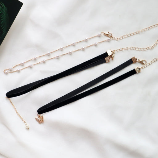 Kawaii  Japanese  Korean Black Pearl Pendant Choker Choker Necklace