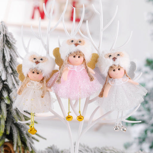Kawaii  Japanese  Korean   Christmas plush net yarn sequined antler angel pendant Christmas tree pendant