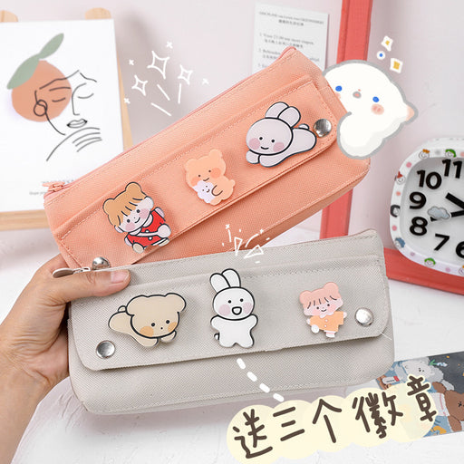 Kawaii  Japanese  Korean  Cartoon badge small fresh pencil case  pencil bag
