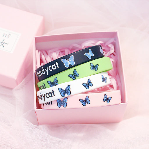 Kawaii  Japanese  Korean  -Sports Tide Brand Basketball Small Fresh Energy Wristband/Couple Skateboard Street Dance Butterfly Silicone Bracelet