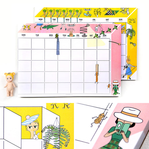 Korean stationery wholesale bentoy strange uncle desktop calendar plan this month plan this a4