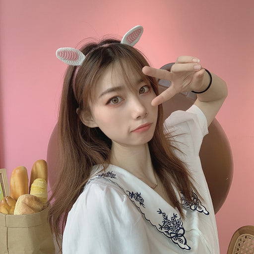 Kawaii  Japanese  Korean  Cartoon woolen rabbit ears hair band cat ear hairpin